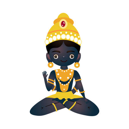 Hindu black deity sitting in golden crown vector illustration