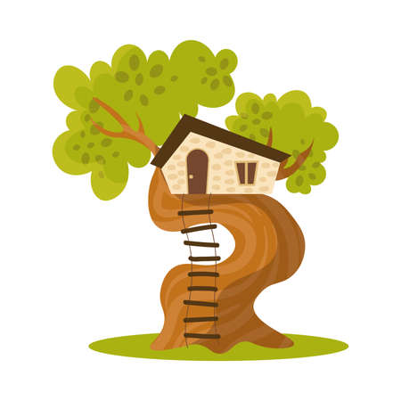 Wooden house on tree with ladder vector illustration Stock Illustratie