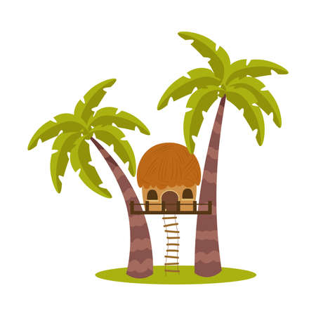 House between palms trunks with hanging ladder vector illustration