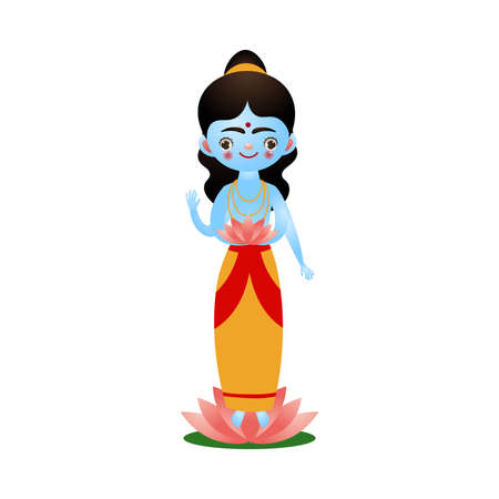 Indian hindu goddess with lotus flower near feet vector illustration Ilustracja