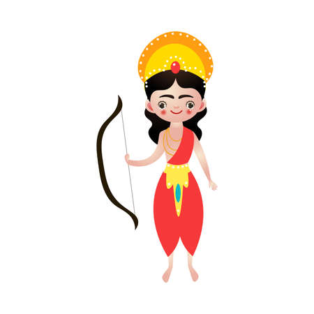 Standing indian hindu god holding bow in hand vector illustration