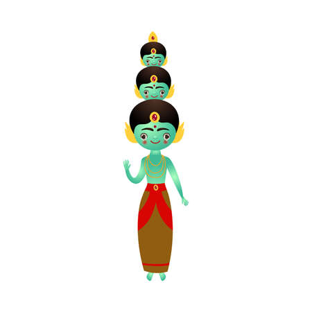 Indian hindu blue deity with three heads vector illustration