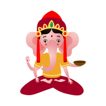 Hindu deity Ganesh with elephant face vector illustration