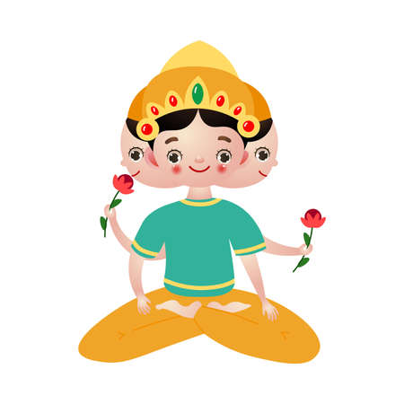 Hindu deity with three heads sitting lotus pose vector illustration