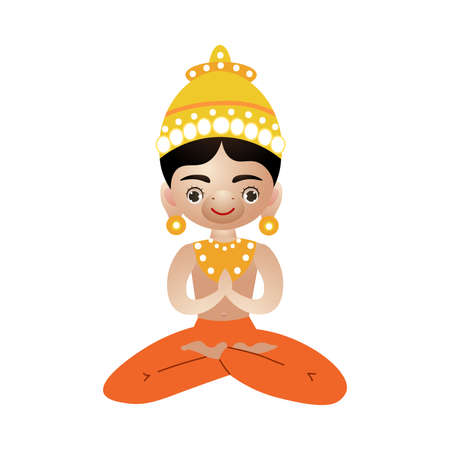 Hindu deity with animal face sitting and meditating vector illustration