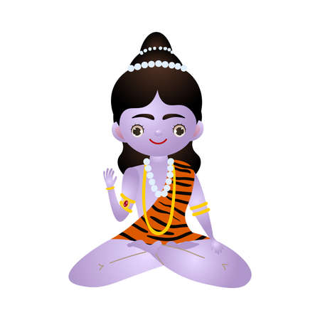 Hindu purple deity sitting in lotus pose vector illustration