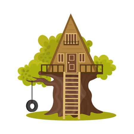 Hand drawn wooden triangular house on green blooming tree in summer over white background vector illustration. Natural house cccomodation in forest on tree concept Stok Fotoğraf - 134754781