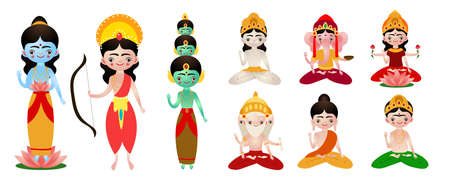 Different standing and sitting hindu deities vector illustration