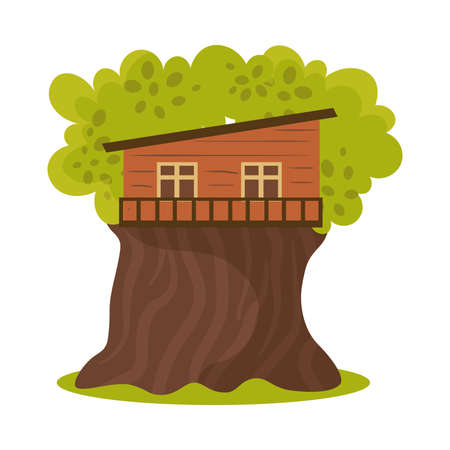 Hand drawn small one floor wooden oblique house on green blooming tree in summer over white background vector illustration. Natural house cccomodation in forest on tree concept Illusztráció