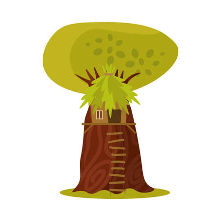 Cute small treehouse with the foliage roof and stairs built in the branches of a tree for children to play in and parties. Children s wooden town concept. Vector illustration on a white background. Illustration