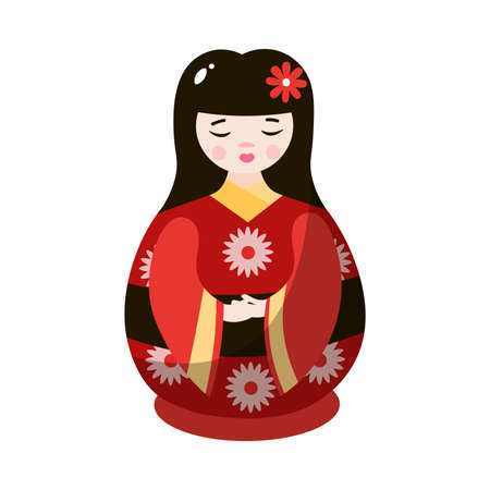 Japanese wooden kokeshi doll. Geisha nesting doll in colorful national costume. Matryoshka toy concept. Isolated vector icon illustration on a white background in cartoon style. Ilustração