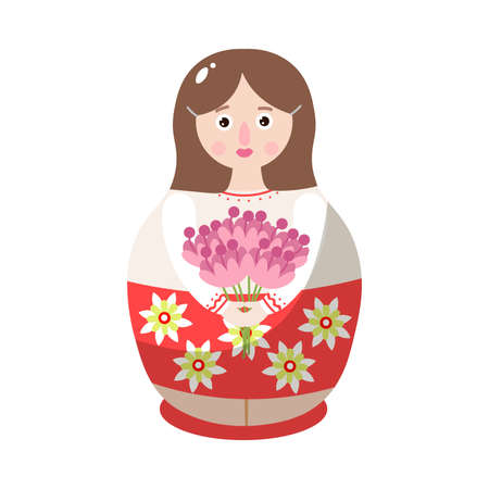 Russian wooden doll in colorful costume with flower ornament. Matryoshka toy with the flower bouquet. Isolated vector icon illustration on a white background in cartoon style.