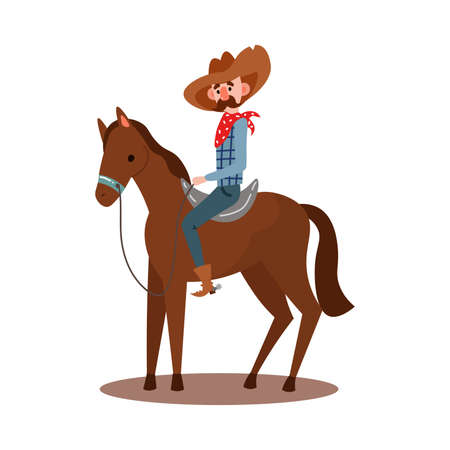 Cute American cowboy with a mustache on a horse wearing traditional clothes with a red bandana, hat, boots. Isolated vector icon illustration on white background in cartoon style. Stock fotó - 134813302