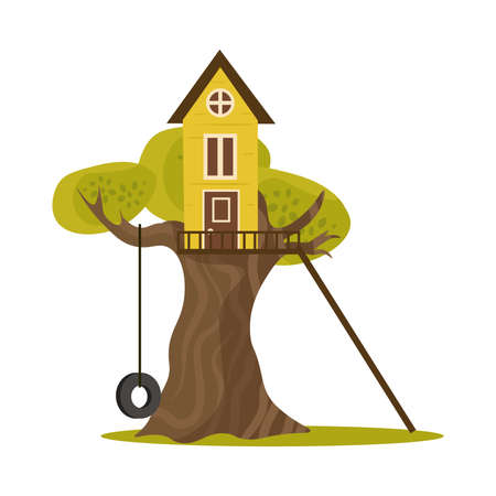 A cute small treehouse with stairs and tire swing built in the branches of a tree for children to play in and parties. Isolated vector icon illustration on a white background in cartoon style.