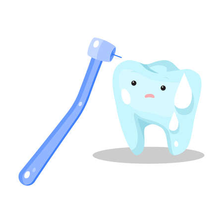 Hand drawn blue stressed sweating tooth ready for being cured by dentist over white background vector illustration. Oral health concept