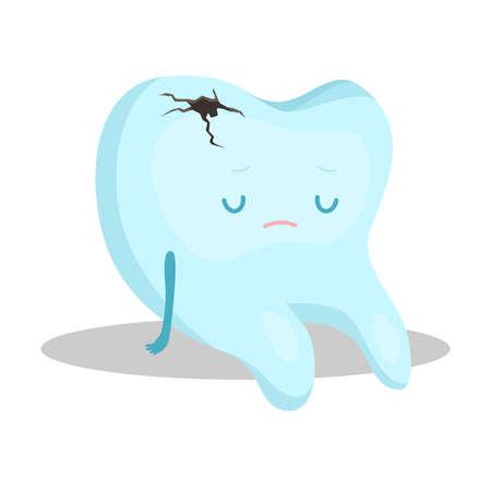 Blauer Zahn mit Hohlraum sitzend und deprimiert, Vektorillustration Vektorgrafik