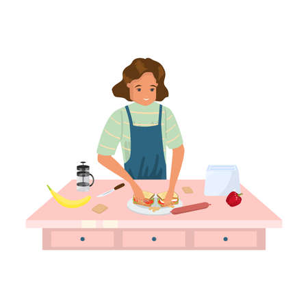 Hand drawn young woman cook in apron making tasty sandwiches at home over white background vector illustration. Making food in action concept Ilustrace