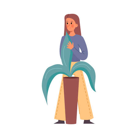 Cute brown-haired girl gardener stands in white pants and caring for a big potted house plant. Isolated vector icon illustration on white background in cartoon style.
