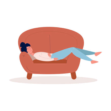 Cute black-haired girl in blue pants lying on the comfy brown armchair relaxes with closed eyes. Relax time concept. Isolated vector illustration on white background in cartoon style.