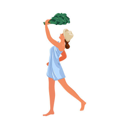 Woman in towel with broom standing in bathhouse vector illustration Stock Illustratie