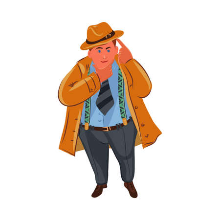The classic detective in brown hat thinking. Vector colorful illustration in cartoon style.