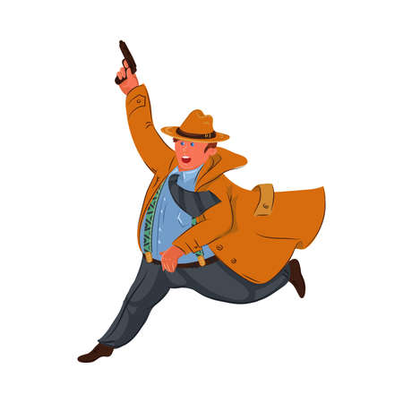 Detective man wearing a brown hat and coat running with a gun. Vector colorful illustration in cartoon style.