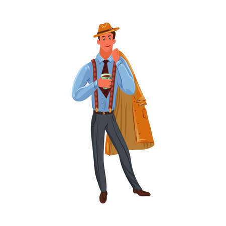 Classic detective in brown hat standing with a cup of coffee. Vector colorful illustration in cartoon style.