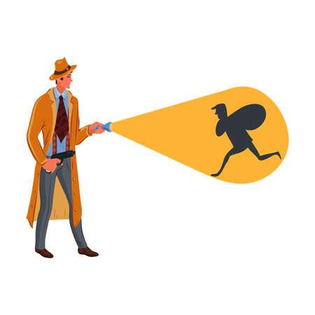 Detektiv hält eine Taschenlampe und leuchtet auf einen Räuber. Bunte Vektorgrafik im Cartoon-Stil.
