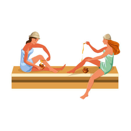 Cute women enjoying hot steam procedures in a sauna doing honey scrub. Vector colorful illustration in cartoon style.