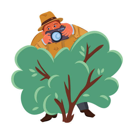 Detective man in brown hat hiding in the green bush with photo camera. Vector colorful illustration in cartoon style.