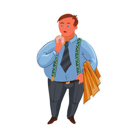 Classic fat detective in blue shirt standing with the donut. Vector colorful illustration in cartoon style.