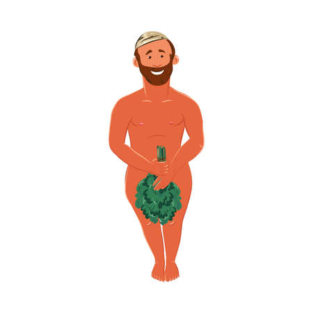 Bearded man standing in a bathhouse and covering with a bunch of birch twig. Vector colorful illustration in cartoon style.