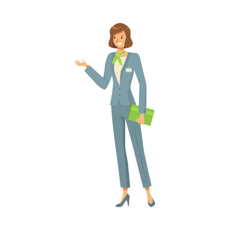 Hand drawn slim smiling woman administrator in special grey costume holding green case at work over white background vector illustration. Hospitality service professionals concept 向量圖像