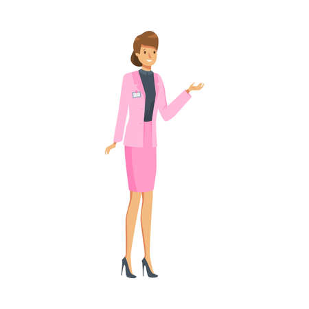Woman administrator in pink costume at work vector illustration
