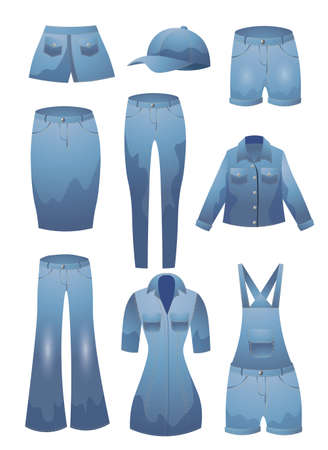Set of various jeans clothes. Vector illustration in flat cartoon style.