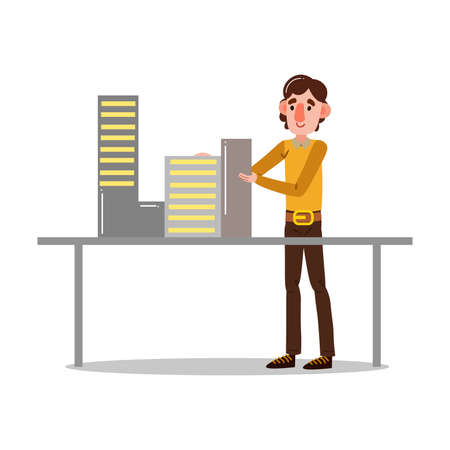 Hand drawn young man engineer in stylish clothing standing and fixing construstion models isolated over white background vector illustration. Professional engineers at work concept