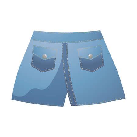 Trendy blue denim shorts back view. Vector illustration in flat cartoon style. Stock Illustratie