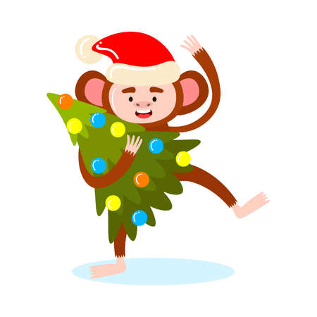 Hand drawn cartoon funny cute happy monkey animal character in festive hat holding new year holiday tree in hands over white background vector illustration. Happy children books illustrations concept