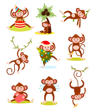 Set of isolated hand drawn cartoon funny cute monkey animal characters doing everyday things over white background vector illustration. Happy children books illustrations concept Illustration