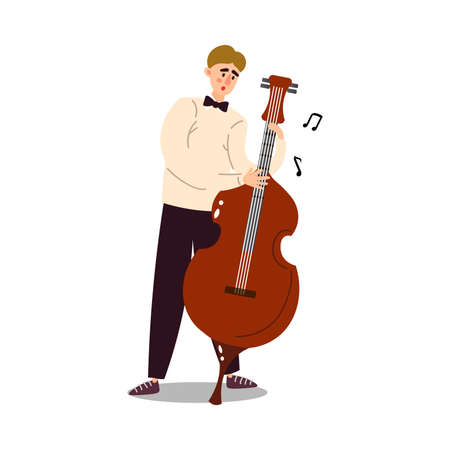 Hand drawn young man musician in classical costume and bow tie playing cello over white background vector illustration. Modern musicians and music styles concept