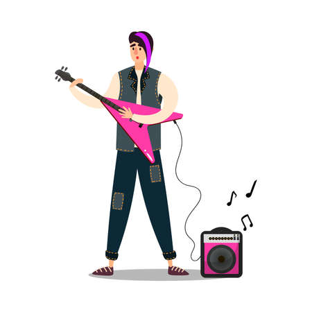 Hand drawn man musician with modern purple hairstyle on stage playing pink electric guitar over white background vector illustration. Modern musicians concept