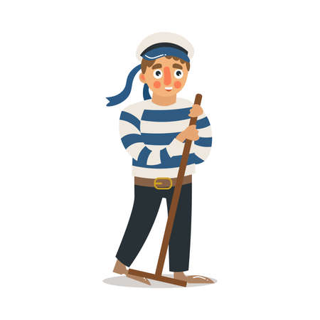 Hand drawn young man sailor in traditional striped uniform and hat standing and scrubbing deck with mop over white background vector illustration. Professional sailors at work concept Banco de Imagens - 137189528