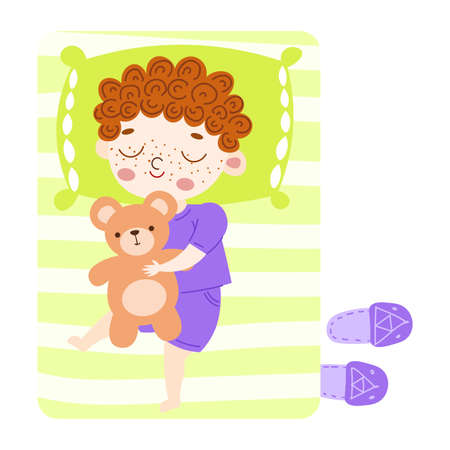 The cute brown-haired little boy in purple pajama lovely sleeping with a teddy bear top view. Purple slippers lie near the bed. Isolated vector illustration on white background in cartoon style
