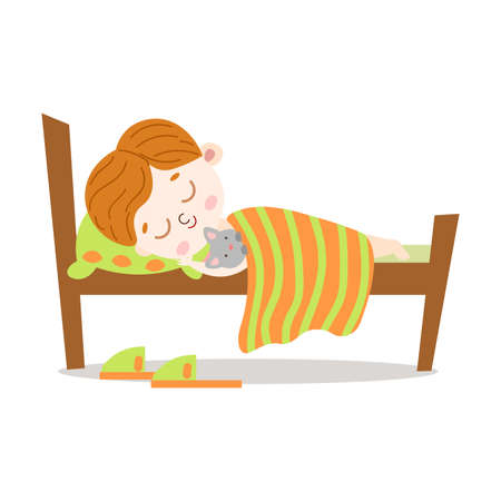 Cute brown-haired little boy lovely sleeping with a cat in a wooden bed under the striped blanket. Green slippers lie near the bed. Isolated vector illustration on white background in cartoon style Vector Illustration