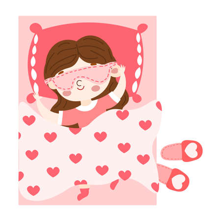 The cute brown-haired little girl in red t-short lovely sleeping under the duvet in pink bed top view. Red slippers lie near the bed. Isolated vector illustration on white background in cartoon style