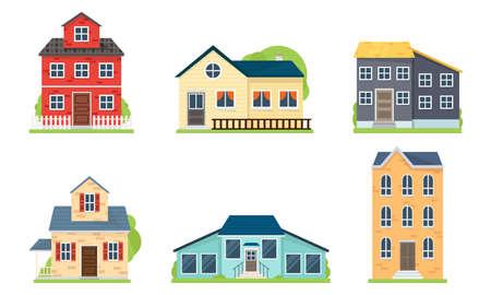 Ensemble de façades de maisons et de bâtiments illustration vectorielle Vecteurs