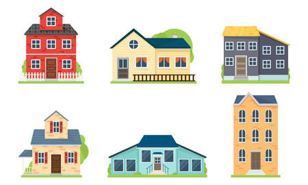 Satz von Häusern und Gebäudefassaden-Vektorillustration Vektorgrafik