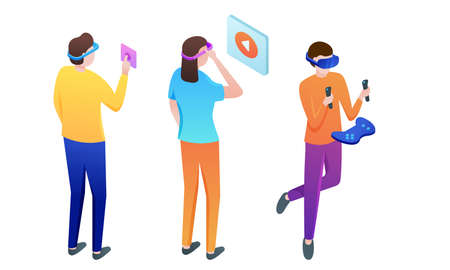 Set of people in masks playing virtual games vector illustration