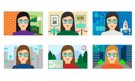 Women playing virtual games in different realities vector illustration 向量圖像