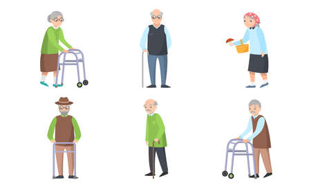 Elderly women and men with clubs and walkers vector illustration